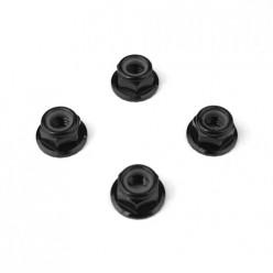 TKR1215-M5 Locknuts (aluminum, flanged, serrated, black, 4pcs)