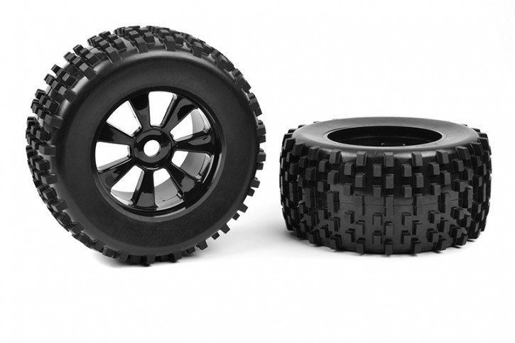 Team Corally - Off-Road 1/8 Monster Truck Tires - Gripper - Glued on Black Rims - 1 Paar