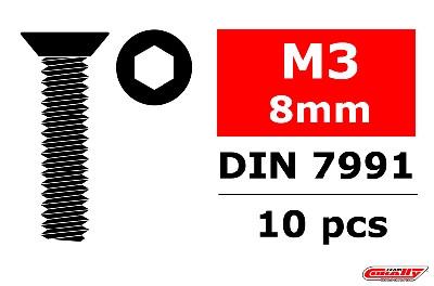 Team Corally - Stahl Schrauben M3 x 8mm - Innensechskant Senkkopf - 10 St