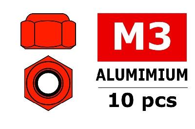 Team Corally - Aluminium Sechskantmutter Selbstsichernd - M3 - Rot - 10 St