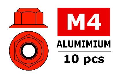 Team Corally - Aluminium Sechskantmutter Selbstsichernd - M4 - mit Bund - Rot - 10 St