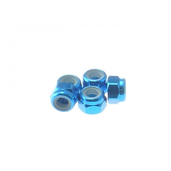 Hiro Seiko 3mm Alloy Nylon Nut [T-Blue] ( 5 pcs)