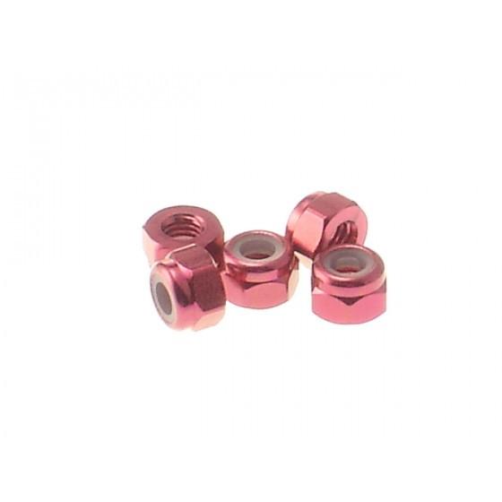Hiro Seiko 3mm Alloy Nylon Nut [Red] ( 5 pcs)