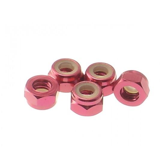 Hiro Seiko 4mm Alloy Nylon Nut [Red] ( 5 pcs)