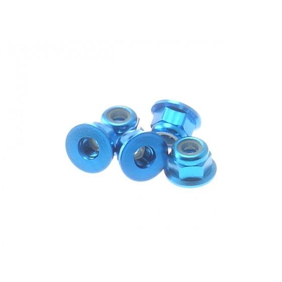 Hiro Seiko 3mm Alloy Flange Nylon Nut [T-Blue] ( 5 pcs)