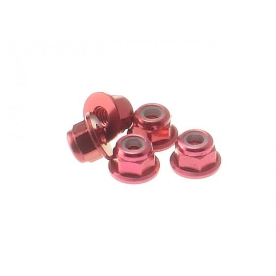 Hiro Seiko 3mm Alloy Flange Nylon Nut [Red] ( 5 pcs)