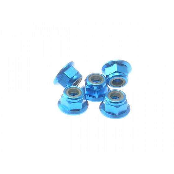Hiro Seiko 4mm Alloy Flange Nylon Nut [T-Blue] ( 5 pcs)