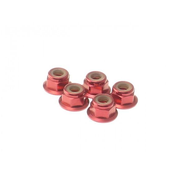 Hiro Seiko 4mm Alloy Flange Nylon Nut [Red] ( 5 pcs)