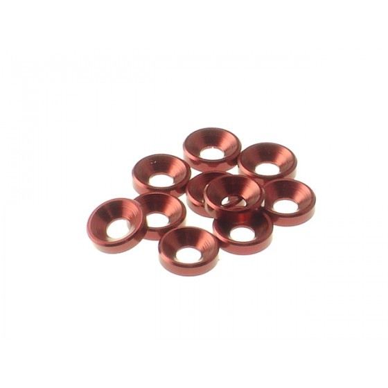 Hiro Seiko 3mm Alloy Countersunk Washer [Red] ( 10 pcs)