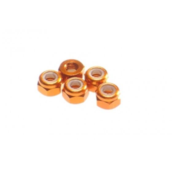 Hiro Seiko 3mm Alloy Nylon Nut [Orange] ( 5 pcs)