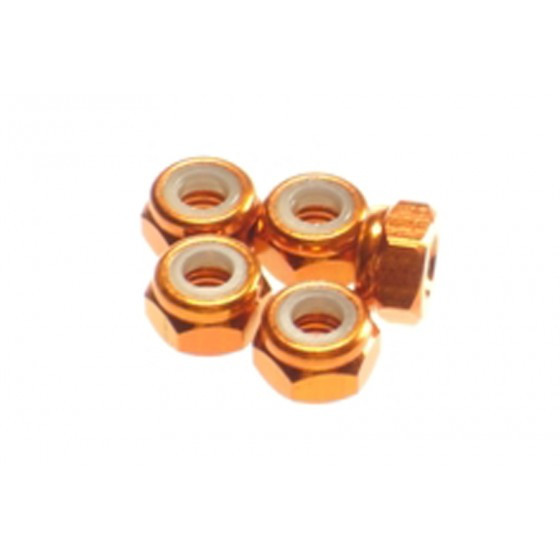 Hiro Seiko 4mm Alloy Nylon Nut [Orange] ( 5 pcs)