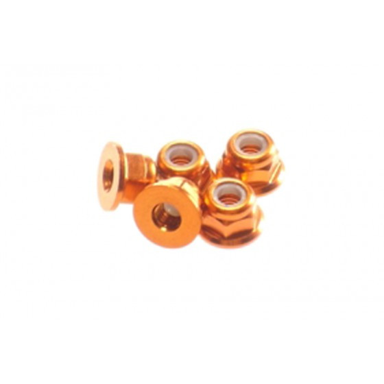 Hiro Seiko 3mm Alloy Flange Nylon Nut [Orange] ( 5 pcs)