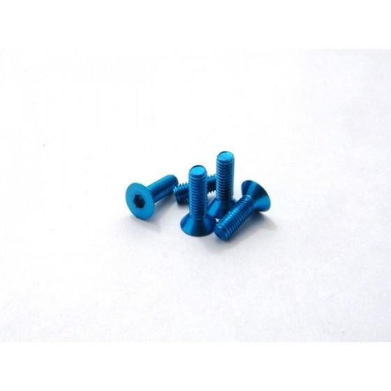 Hiro Seiko Alloy Hex Socket Flat Head Screw M3x8 [T-Blue] ( 5 pcs)