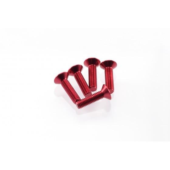 Hiro Seiko Alloy Hex Socket Flat Head Screw M3x12 [Red] ( 5 pcs)