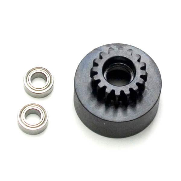 TKR4126-1/8th Clutch Bell (hardened steel, Mod 1, 16t, w/bearings)