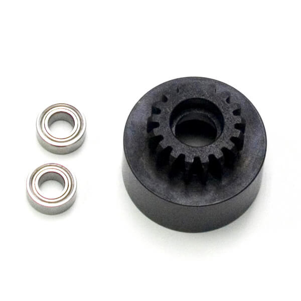 TKR4127-1/8th Clutch Bell (hardened steel, Mod 1, 17t, w/bearings)