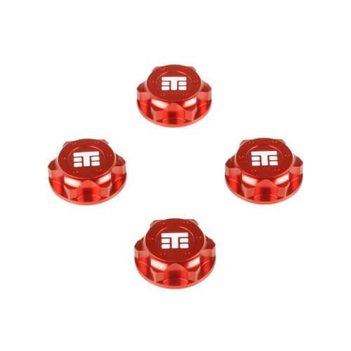 TKR5116BR-Wheel Nuts (T Logo, 17mm, serrated, red ano, M12x1.0, 4pcs