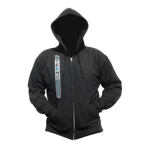 "Tekno RC ""Stripe"" Zippered Hoodie (vertical design, black)"