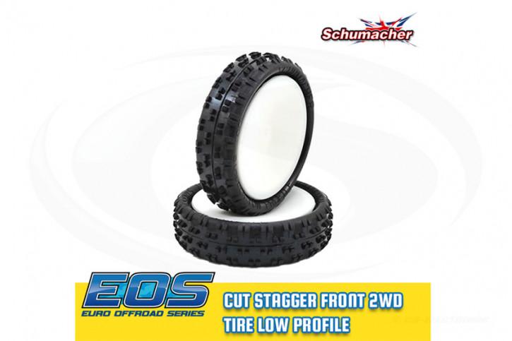 1:10 Schumacher Cut Stagger - 2WD Front Komplettrad -Low Profile- gelb (2) verklebt, 12mm Sechskant - EOS / Mibos 2017/18-