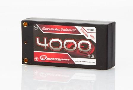 LiPo 7,4V, 4000mAh, 60C, 2S-1P, Short Racing Pack